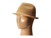 Stacy Adams Knit Fedora With Embroidered Griffen Emblem On The Band Camel Fedora Hats Tan