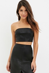 Forever 21 Faux Leather Tube Top Black