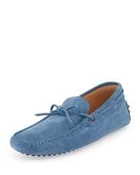 Gommini Suede Tie Driver Light Blue Tod's