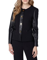 Tahari By Arthur S. Levine Faux Leather Frame Jacket Black