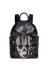 Alexander Mcqueen Pixel Skull Stud Leather Backpack Black