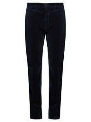 Massimo Alba Mid Rise Cotton Velvet Trousers Navy