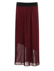 Elvi Maroon Maxi Pleated Skirt