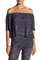 Anama Off The Shoulder Lace Tee Purple