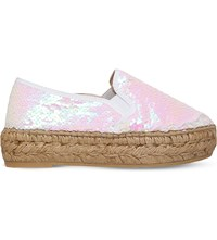 Kg By Kurt Geiger Milo Sequin Embellished Espadrilles White
