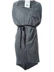 Lost And Found Ria Dunn Tie Up Cowl Neck Ruched Dress Grey