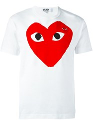 Comme Des Garcons Play Embroidered Heart Print T Shirt White