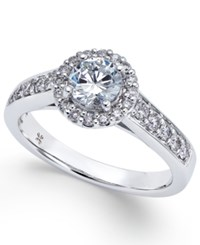Macy's Diamond Halo Engagement Ring 1 Ct. T.W. In 14K White Gold