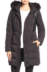7 For All Mankindr Women's Mankind Mixed Media Coat With Removable Faux Fur Trim Hood Black