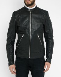 Diesel Black Marton Quilted Shoulder Zipped Leather Jacket