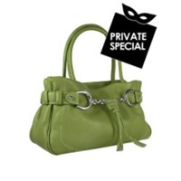 Buti Horsebit Green Pebble Italian Leather Satchel Bag