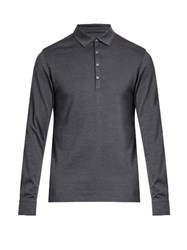 Ermenegildo Zegna Long Sleeved Wool And Silk Blend Polo Shirt Dark Blue