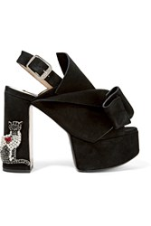 N 21 No. Embellished Suede Platform Sandals Black