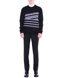 Lanvin Asymmetric Striped Sweatshirt Black Size X Small