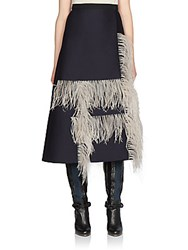 Lanvin Feather Detail Wool And Silk Skirt Navy