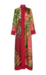 For Restless Sleepers Euribia Red Long Sleeve Maxi Dress Red Pink Green