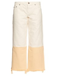 Simon Miller Kozal Wide Leg Cropped Jeans Cream