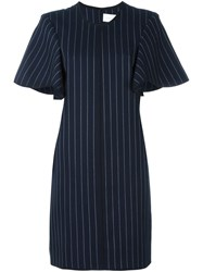 Victoria Beckham Pinstripe Dress Blue