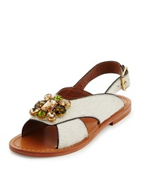 Marni Jeweled Calf Hair Flat Slingback Sandal Natural White Women's Natural White