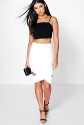 Boohoo Origami Hem Pencil Skirt White