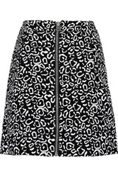 Opening Ceremony Leo Printed Suede Mini Skirt Black