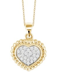 Macy's Diamond Heart Pendant Necklace 1 4 Ct. T.W. In 14K Gold Plated Sterling Silver Yellow Gold