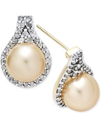 Macy's Cultured Golden South Sea Pearl 9Mm And Diamond 5 8 Ct. T.W. Drop Earrings In 14K Gold
