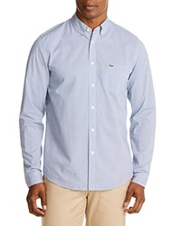 Lacoste Poplin Check Regular Fit Button Down Shirt Denim White Officer
