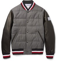 Moncler Gamme Bleu Quilted Wool And Leather Down Bomber Jacket Gray