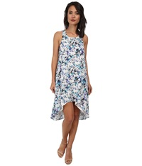 Sam Edelman Photo Floral Racer Back Detail High Low Dress Turquoise Women's Dress Blue