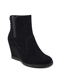 Anne Klein Neither Round Toe Suede Ankle Boots Black