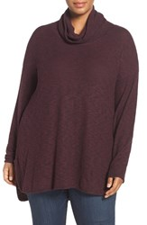 Caslonr Plus Size Women's Caslon Cozy Turtleneck Sweater Burgundy Pattern