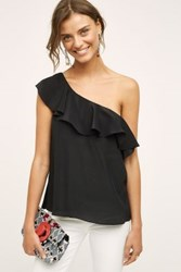 Anthropologie Silk One Shoulder Blouse Black