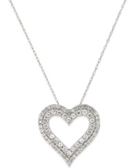 Macy's White Sapphire Heart Pendant Necklace In 14K White Gold 7 8 Ct. T.W.
