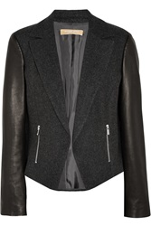Michael Kors Leather Paneled Wool Blend Jacket Gray