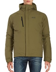 Jack Wolfskin Breathable Waterproof Hooded Activewear Jacket Burnt Olive