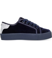 Carvela Lazer Glitter Panel Velvet Trainers Navy