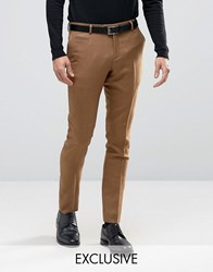 Number Eight Savile Row Skinny Smart Trouser In Check Camel Beige