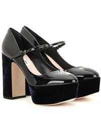 Miu Miu Patent Leather And Velvet Platform Pumps Black