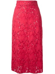 Scanlan Theodore Double Lace Skirt Red