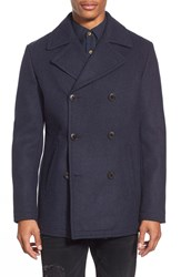 7 Diamonds 'Seville' Wool Blend Double Breasted Peacoat Indigo
