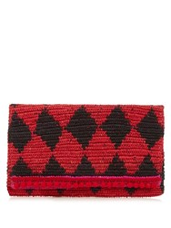 Sensi Studio Rombos Woven Diamond Straw Clutch Black Red