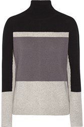 Duffy Color Block Cashmere Turtleneck Sweater Gray
