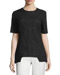 J. Mendel Short Sleeve Eyelet Top Noir Women's