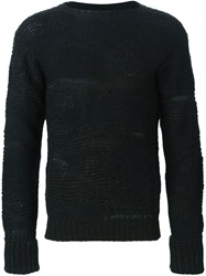 Isabel Benenato Open Knit Sweater Black