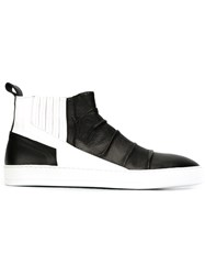 Alexandre Plokhov Contrast Panel Slip On Creased Sneakers Black