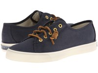 Sperry Seacoast Navy Burnished Canvas Women's Lace Up Casual Shoes Black