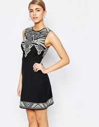 Oasis Tribal Placement Shift Dress Multi Black