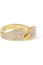 Marc By Marc Jacobs Collar Gold Tone Crystal Ring White