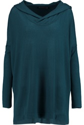 Donna Karan Oversized Hooded Cashmere Sweater Blue